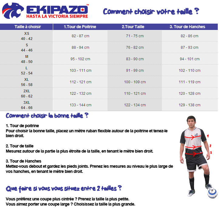 Guide des tailles Ekipazo Homme
