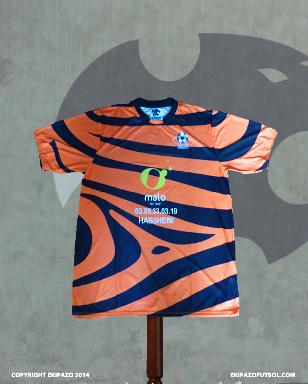 maillot-foot-orange-noir-zebre